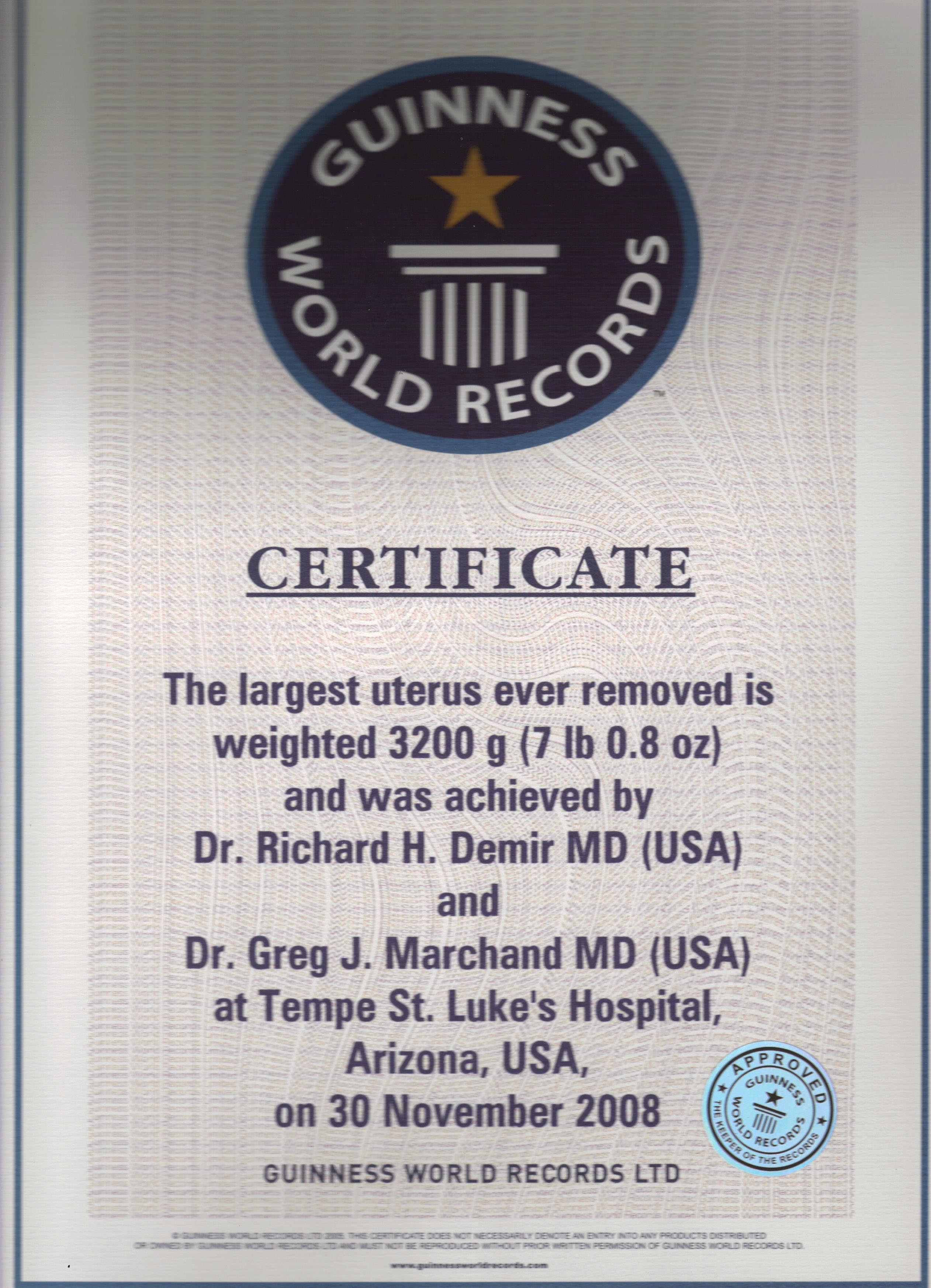 Guinness Book for Largest Uterus Removed